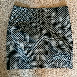 Work skirt with blue and green pattern